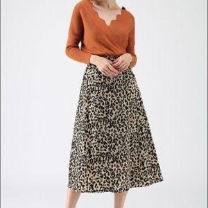Chicwish Wild Heart Leopard A-Line Midi Skirt